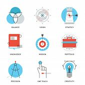 image of sketch book  - Thin line icons of creative design process agency studio development business vision marketing strategy smart solution - JPG