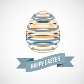 stock photo of circle shaped  - Easter egg and Happy Easter sign - JPG