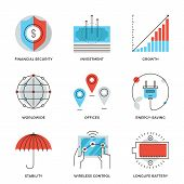 stock photo of money  - Thin line icons of worldwide corporate business money growth chart financial security energy savings company stability - JPG