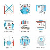 image of online education  - Thin line icons of global education form online webinar video tutorial certificate of specialist know how ideas develop - JPG