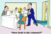 stock photo of waiter  - Cartoon of customer asking the waiter how fresh the seafood is while the fresh - JPG