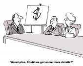foto of leader  - Cartoon of one page business plan presentation - JPG