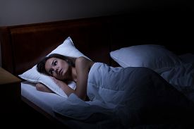 picture of suffering  - Woman suffering from depression at night horizontal - JPG