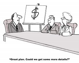 foto of objectives  - Cartoon of one page business plan presentation - JPG