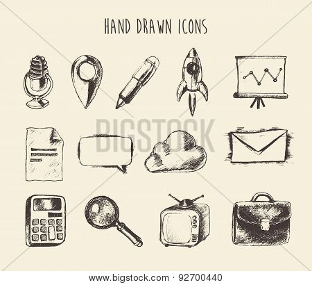 Collection Hand Drawn Doodle Network Icons Sketch