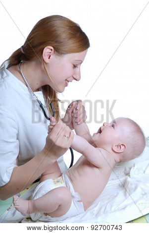 Woman Doctor And Baby