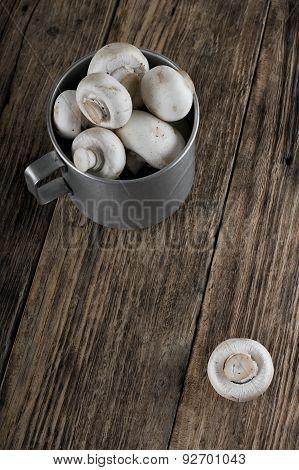 Aluminum Cup Full Of Mushrooms