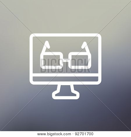 Glasses in computer monitor icon thin line for web and mobile, modern minimalistic flat design. Vector white icon on gradient mesh background.