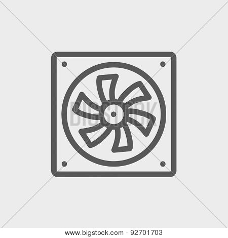 Computer cooler icon thin line for web and mobile, modern minimalistic flat design. Vector dark grey icon on light grey background.