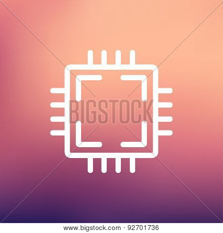 CPU icon thin line for web and mobile, modern minimalistic flat design. Vector white icon on gradient mesh background.