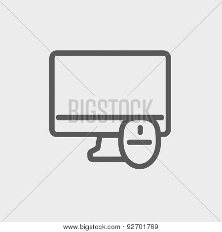 Monitor and computer mouse icon thin line for web and mobile, modern minimalistic flat design. Vector dark grey icon on light grey background.