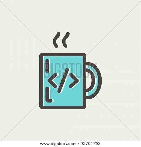 Mug with hot coffee icon thin line for web and mobile, modern minimalistic flat design. Vector icon with dark grey outline and offset colour on light grey background.