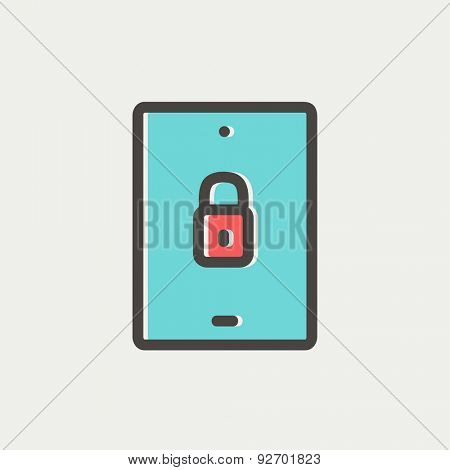 Smartphone security icon thin line for web and mobile, modern minimalistic flat design. Vector icon with dark grey outline and offset colour on light grey background.