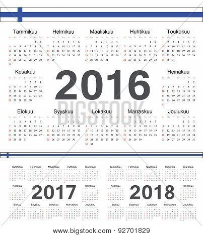 Vector Finnish Circle Calendars 2016, 2017, 2018
