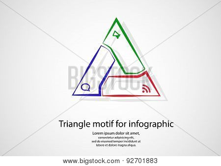 Triangle Infographic From Outlines On Light
