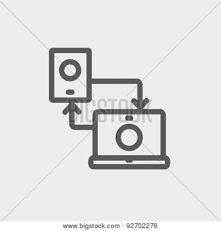 Synchronization smartphone with laptop icon thin line for web and mobile, modern minimalistic flat design. Vector dark grey icon on light grey background.