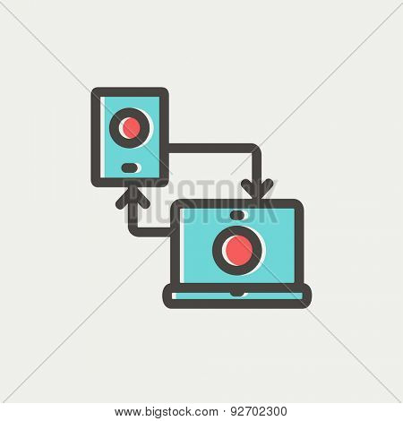 Synchronization smartphone with laptop icon thin line for web and mobile, modern minimalistic flat design. Vector icon with dark grey outline and offset colour on light grey background.