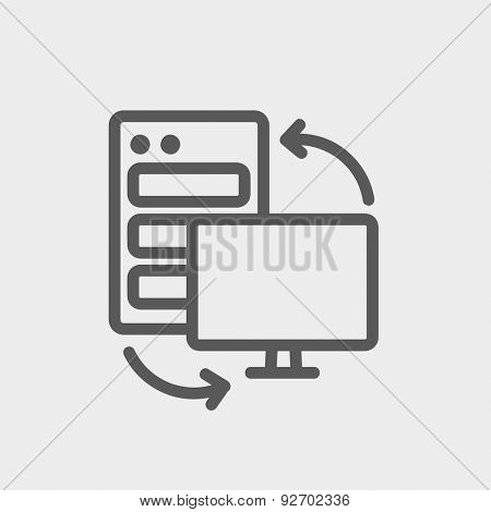 Personal computer set. CPU Central proccessing unit icon thin line for web and mobile, modern minimalistic flat design. Vector dark grey icon on light grey background.