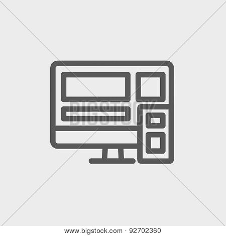 Responsive web design icon thin line for web and mobile, modern minimalistic flat design. Vector dark grey icon on light grey background.