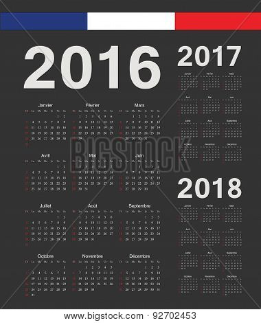 Set Of Black French 2016, 2017, 2018 Year Vector Calendars