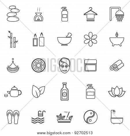 Spa Line Icons On White Background