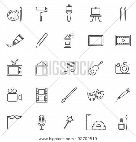 Art Line Icons On White Background