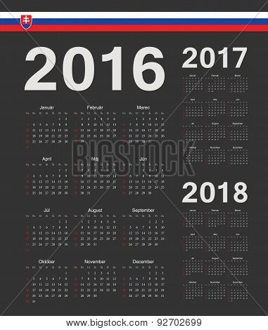 Set Of Black Slovak 2016, 2017, 2018 Year Vector Calendars