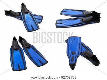 Set Of Blue Swim Fins For Diving