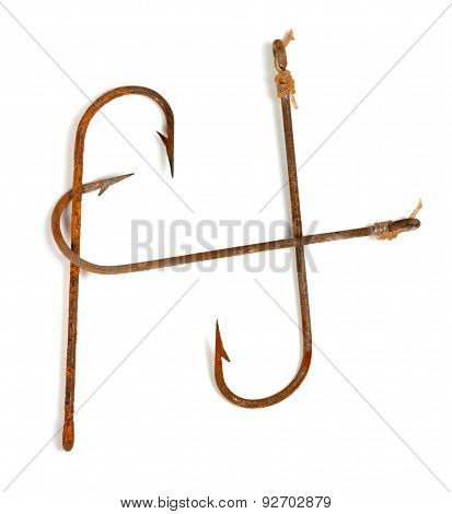 H-shaped Old Rusty Fish Hooks