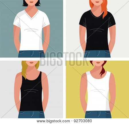 Girls with t-shirts, vector flat mock up, template set