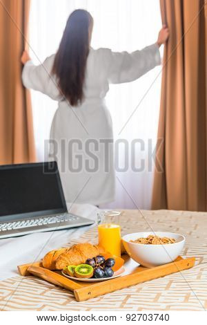 Girl In White Terry Cloth Robe Reveals Shades