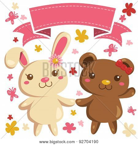 Cartoon Vector of cute bear and bunny