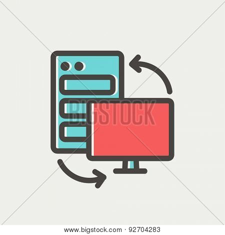Personal computer set. CPU central processing unit icon thin line for web and mobile, modern minimalistic flat design. Vector icon with dark grey outline and offset colour on light grey background.
