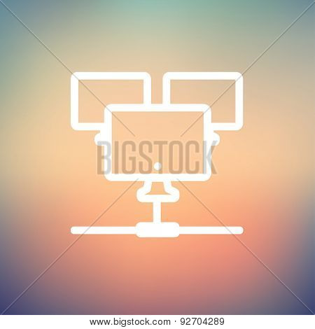 Three touchscreen devices icon thin line for web and mobile, modern minimalistic flat design. Vector white icon on gradient mesh background.