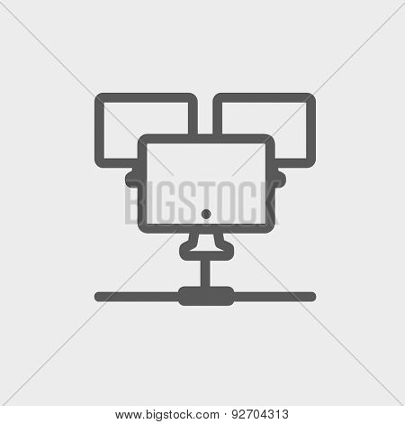 Three touchscreen devices icon thin line for web and mobile, modern minimalistic flat design. Vector dark grey icon on light grey background.