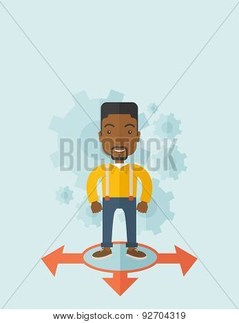 A black guy businessman standing on three ways arrows for selection. Business concept.A contemporary style with pastel palette soft blue tinted background. Vector flat design illustration. Vertical