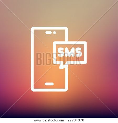 Mobile phone with SMS can receive and send messages icon thin line for web and mobile, modern minimalistic flat design. Vector white icon on gradient mesh background.