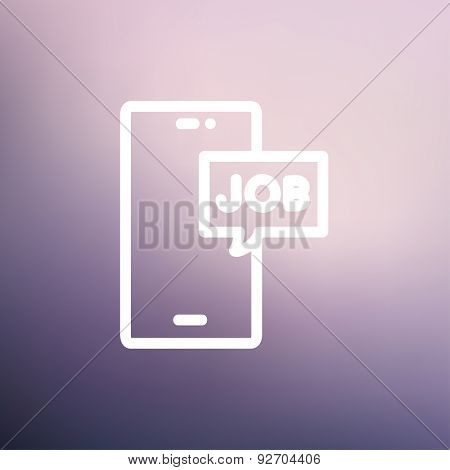 Smartphone with word job in a box icon thin line for web and mobile, modern minimalistic flat design. Vector white icon on gradient mesh background.