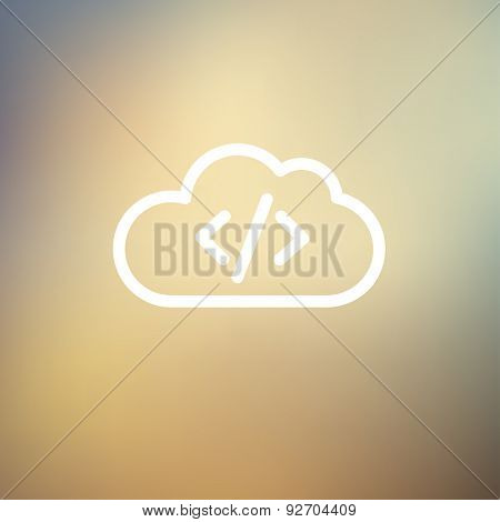 Transferring files cloud apps icon thin line for web and mobile, modern minimalistic flat design. Vector white icon on gradient mesh background.