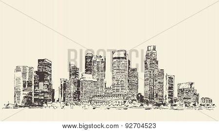 Big city Architecture Engraved Illustration Sketch