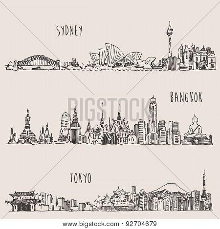 Sydney, Bangkok, Tokyo, Illustration, Hand Drawn