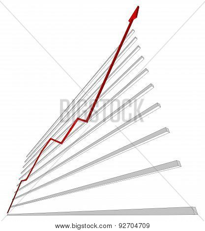 Diagram with red curve. Vector illustration
