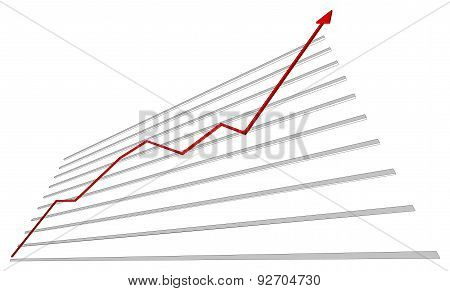 Graph with red arrow up. Vector illustration