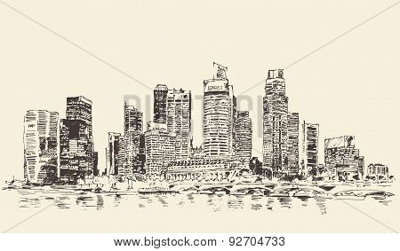 Singapore Big City Architecture Vintage Engraved