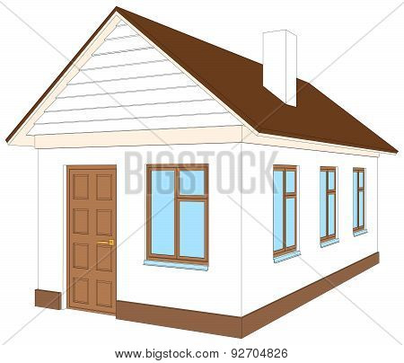 White house with brown door. Vector illustration