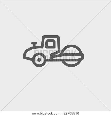 Road roller icon thin line for web and mobile, modern minimalistic flat design. Vector dark grey icon on light grey background.