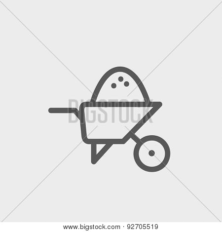 Wheelbarrow full of sand icon thin line for web and mobile, modern minimalistic flat design. Vector dark grey icon on light grey background.