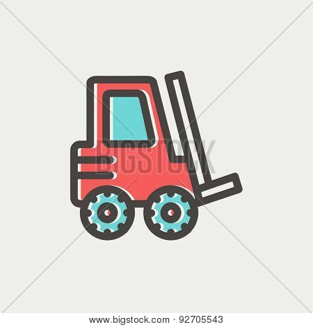 Forklift truck icon thin line for web and mobile, modern minimalistic flat design. Vector icon with dark grey outline and offset colour on light grey background.