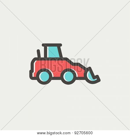 Car dumper icon thin line for web and mobile, modern minimalistic flat design. Vector icon with dark grey outline and offset colour on light grey background.