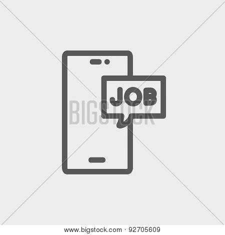 Smartphone with word job in a box icon thin line for web and mobile, modern minimalistic flat design. Vector dark grey icon on light grey background.